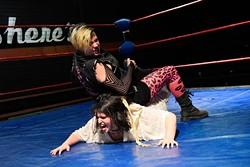 Eric Everett (Hacksaw Jim Duggan) wrestles Thorne Poorman (Big Van Vader) during a BLOWmania practice at Mid-South Wrestling. (Garett Fisbeck)