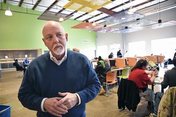 Dan Straughan speaks inside the Homeless Alliance day center Dan Straughan speaks inside the Homeless Alliance day center. (Mark Hancock)