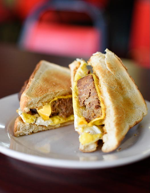 Meatloaf breakfast sandwich at Grill on the Hill, Wednesday, March 9, 2016. - GARETT FISBECK