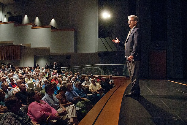 U.S. Senator Tom Coburn speaking during a town hall meeting in the OCCC Visual and Performing Arts Center, Monday, 8-4-14.  mh