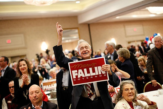 Raymond York cheers during a Republican watch party at Tower Hotel Oklahoma City last week. (Garett Fisbeck)