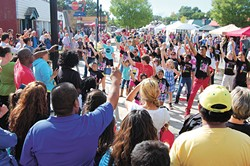 A dancing crowd at Plaza Fest 2013