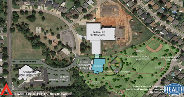 A rendering of a proposed health and wellness center next to Parmalee Elementary. (Provided0