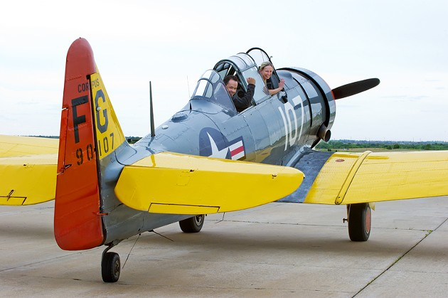 Front, owner and Pilot of the 1940's AT-6, Britton Lee and rear, pilot Tom Hennebry land at Sundance Airpark and will perform in the air show.Photo/Shannon Cornman - SHANNON CORNMAN