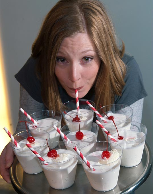Erin Brewer, owner of Red Pin Bowling with a tray of her Vanilla Milkshakes which she will spike when they are served in the Cox Center for this year's Taste of OKC fundraising event.  mh