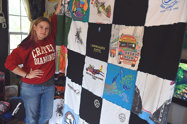 J.D. Star with a special order, custom made blanket in her home studio.  mh