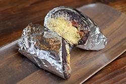 Breakfast burrito with scrambled eggs, pico de gallo, refried black beans, rice and Jack cheese (Garett Fisbeck)