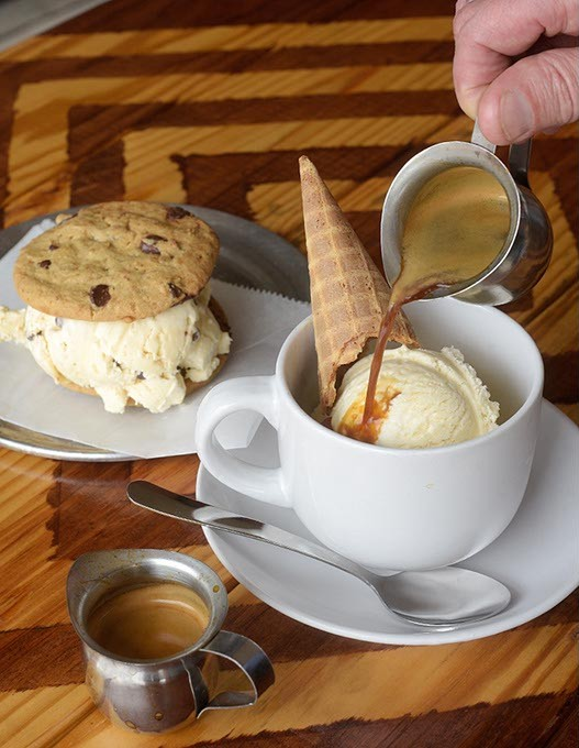 Affogato and ice cream sandwich at Vacca Territory Creamery & Coffeehouse in Yukon, Tuesday, Aug. 1, 2017. - GARETT FISBECK
