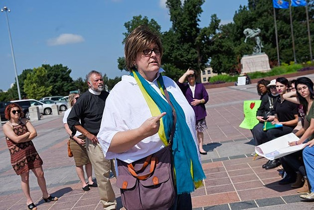Paula Sophia Schonauer speaks at a protest for transgender rights at the Oklahoma State Capitol, Tuesday, May 24, 2016. - GARETT FISBECK
