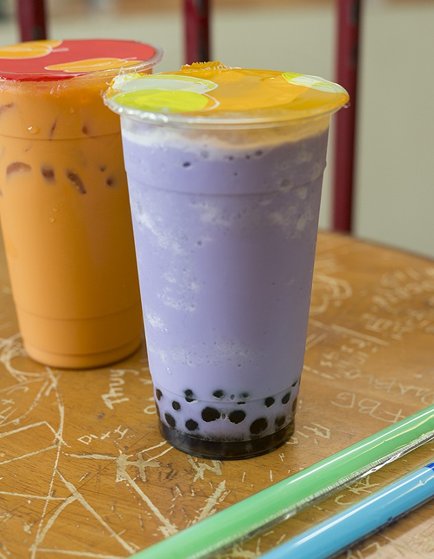 Cafe Oasis serves Taro Tea with Boba chilled over ice on Tuesday, July 12, 2016 in Oklahoma City. - EMMY VERDIN