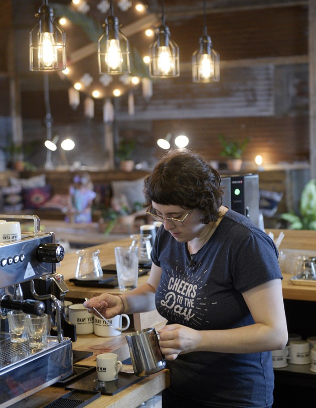 ?Cece Otero makes coffee at Okay Yeah Co., Wednesday, Sept. 7, 2016. - GARETT FISBECK