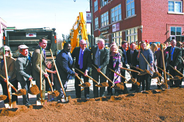 City and community leaders break ground to signify the beginning of construction of the MAPS 3 modern streetcar in Bricktown. | Photo Laura Eastes