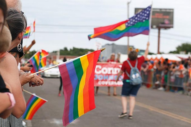 Pride flags are held from the crowd during the 30th Anniversary OKC Pride Parade on Sunday, June 25, 2017. (Cara Johnson)