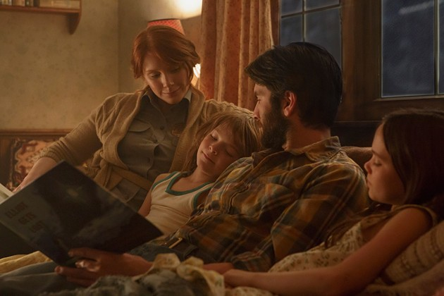 Bryce Dallas Howard is Grace, Wes Bentley is Jack Oakes Fegley is Pete and Oona Laurence is Natalie in Disney's PETE'S DRAGON, the adventure of a boy named Pete and his best friend Elliot who just happens to be a dragon. - MATT KLITSCHER