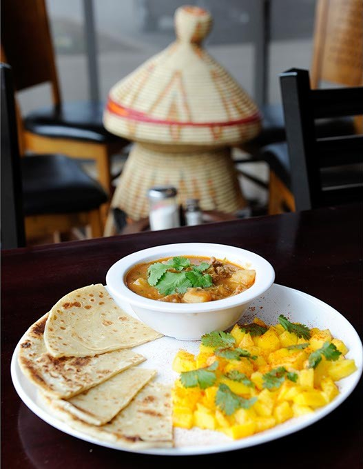 Kenyan Chapati and Beef Stew at Haiget's in Edmond, Wednesday, Feb. 11, 2015. - GARETT FISBECK
