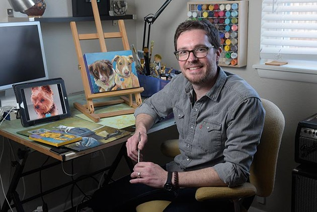Artist Mark Moad poses for a photo at his home studio in Oklahoma City, Wednesday, Jan. 25, 2017. - GARETT FISBECK