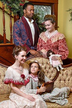 From Front Left; Kylie Groom as Esther Smith, Gabrielle Alspaugh as Tootie Smith, Micheal Andreus as Mr. Alonso Smith, and Karlin Smith as Mrs. Anna Smith. Meet Me in St. Louis. UCO Photo by Lauren Bieri - LAUREN BIERI