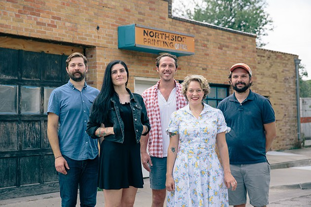 From left Joey Morris, Jenna Lewis, Roger Eleftherakis, Beth Ann Lyon and John Harris combined forces to open The Press.   Photo provided