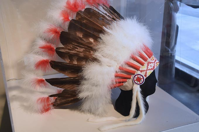 A headdress on display at Red Earth Museum in Downtown OKC.  mh