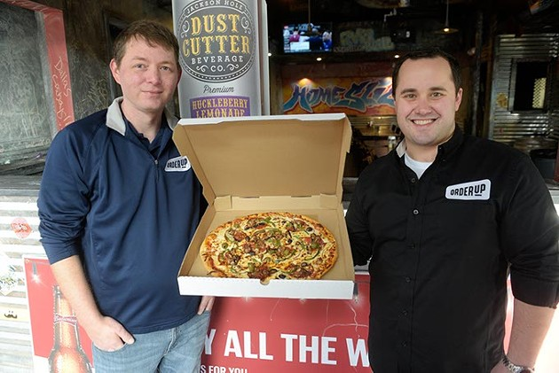 General Manager Cameron Davis and owner Blake Cantrell of OrderUp pose for a photo at Knuck's Wheelhouse, Wednesday, Jan. 25, 2017. - GARETT FISBECK