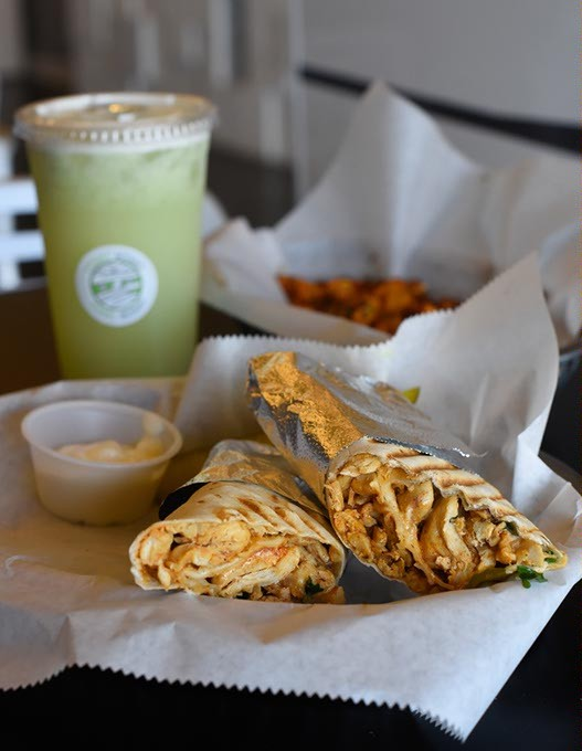 Chicken mummy wrap, spicy potatoes, Mental Madness (mint lemonade) at Yummy Mummy in Oklahoma City, Monday, April 25, 2016. - GARETT FISBECK