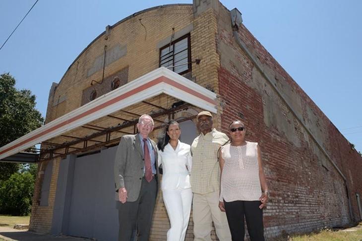 John McConnel, Karen Wallace Douglas, Arthur Hurst, and Sherri Williams, poses for a photo at the Jewel Theatre, Wednesday, June 28, 2017. - GARETT FISBECK