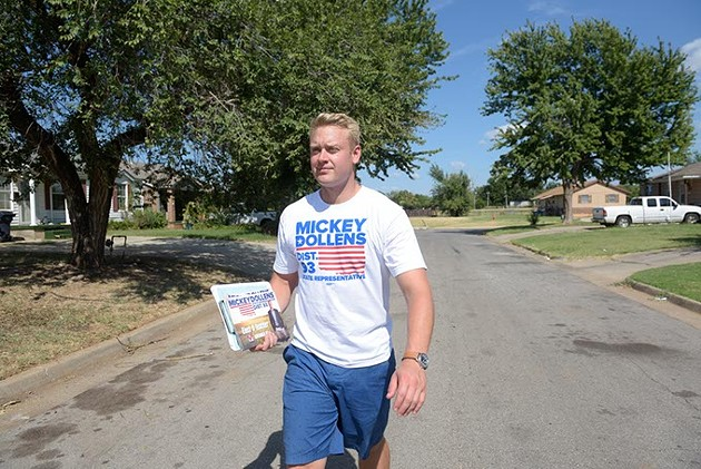 Mickey Dollens walks a neighborhood in District 93 asking for support, Wednesday, Aug. 17, 2016. - GARETT FISBECK