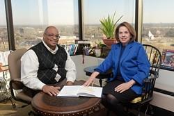 Karen Waddell, president and CEO of Lynn Institute, sits with Collaaborative Chair Greg Jones, Thursday, Jan. 12, 2017. - GARETT FISBECK