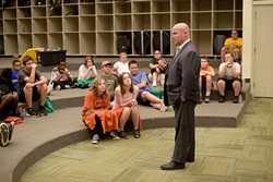 Joe Dorman, director of OICA, speaks to a Police Athletic League at Longfellow Middle School in Norman, Monday, July 10, 2017. - GARETT FISBECK