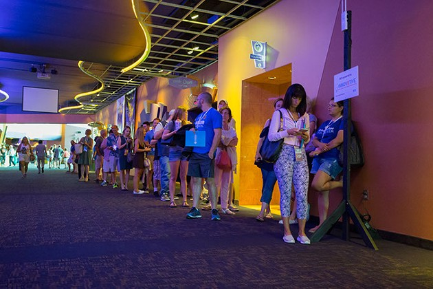 People stand in line for Comedy Shorts feature at Harkins Theatre in Oklahoma City, Saturday, June 11, 2016. - EMMY VERDIIN