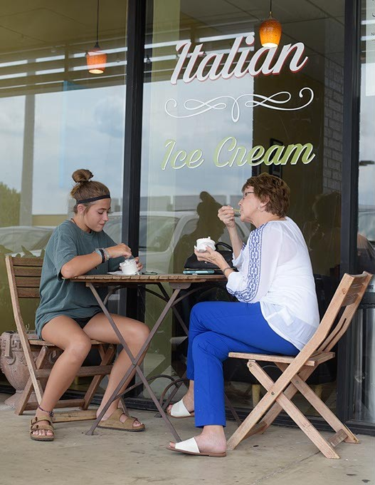KK Davis and Sherry McKown eat gelato at Il Dolce Gelato in Norman, Monday, July 31, 2017. - GARETT FISBECK