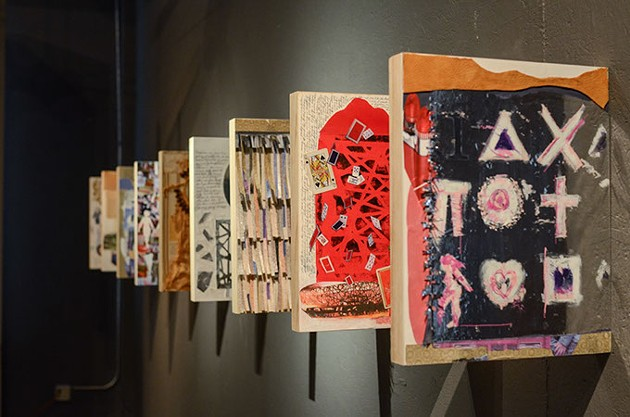 """mixed media panels by Cynthia Adler, inspired by  """"Room of Hidden Things"""" by Anita Skeen   Photo provided"""