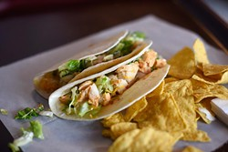 Soft chicken taco at Tacoville, Tuesday, April 26, 2016. - GARETT FISBECK