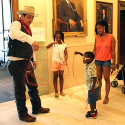 Children learn roping skills during a themed See You Saturdays event hosted at Oklahoma Hall of Fame. (Provided)