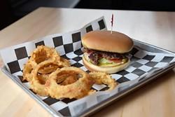 Buffalo Nickel Burger with onion rings at 1907 Burgers & Brews in Moore, Friday, Sept. 23, 2016. - GARETT FISBECK