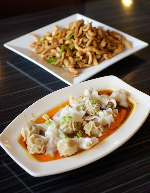Shredded pork with bean curds and bamboo shoots, Szechuan wonton in red oil, at Mr. Hui's in Norman, Monday, Sept. 12, 2016. - GARETT FISBECK