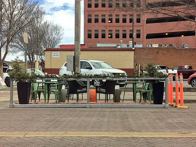 Downtown OKC, Inc. helped install what might be Bricktown's first parklet.   Photo twitter.com/_bricktown / provided
