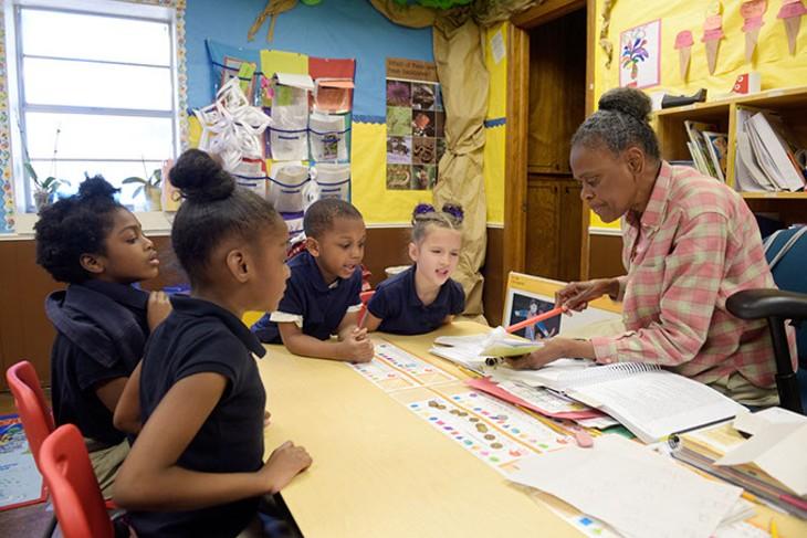 Myra Moaning teaches her kindergarten class at Little Light Christian School, Thursday, March 2, 2017. - GARETT FISBECK