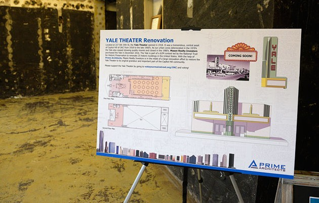 A display board positioned in the entrance of the Yale Theater highlights the plans of developers Aimee Ahpeatone and Steve Mason. The theater dates back to 1918, a year from now, it should once again light up SW 25th Street in Calle Dos Cinco in Historic Capitol Hill. (Garett Fisbeck)
