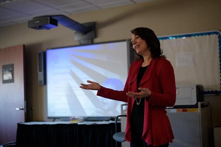 Stacy Dykstra teaches an Early Bird class at Metro Career Academy, Friday, Feb. 3, 2017. - GARETT FISBECK