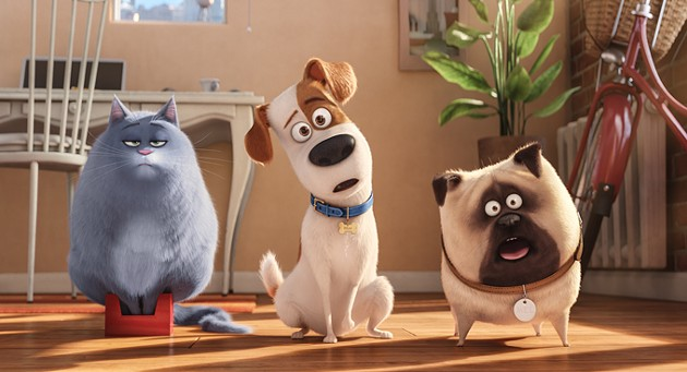 """(L to R) Fat cat Chloe (LAKE BELL), pampered terrier mix Max (LOUIS C.K.), and excitable pug Mel (BOBBY MOYNIHAN) in Illumination Entertainment and Universal Picturesí """"The Secret Life of Pets,"""" a comedy about the lives our pets lead after we leave for work or school each day. - CREDIT: ILLUMINATION ENTERTAINME"""