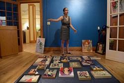 Behnaz Sohrabian talks about her art at JRB at the Elms in Oklahoma City, Tuesday, Aug. 2, 2016. - GARETT FISBECK