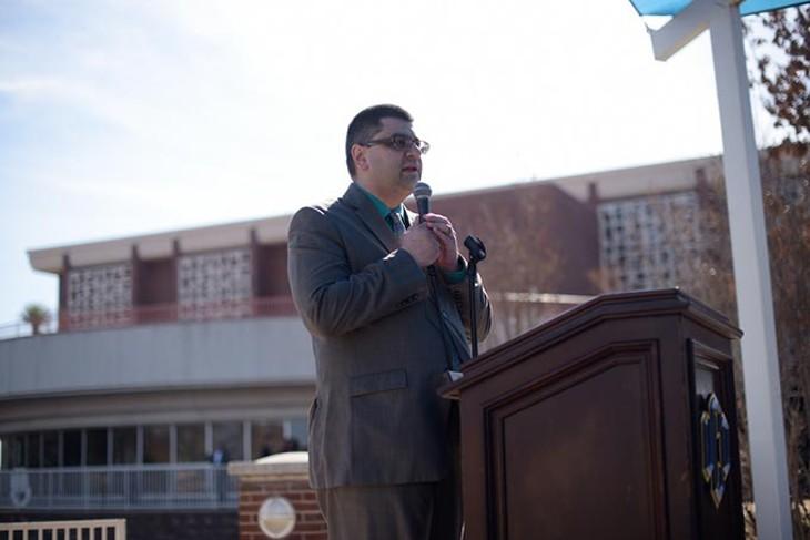 CAIR-OK Executive Director Adam Soltani during a #NoBanNoWall rally at the University of Central Oklahoma, Wednesday, Feb. 1, 2017. - GARETT FISBECK