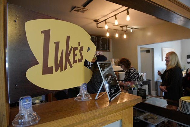 Customers line up as Cuppies and Joe becomes Luke's Diner for a day, Wednesday, Oct. 5, 2016. - GARETT FISBECK