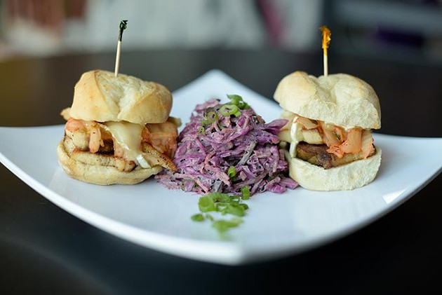 Pork belly brie sliders at Dekora!, Friday, May 5, 2017. - GARETT FISBECK