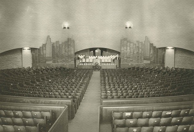 First Christian Church sanctuary shortly after completion in 1956 - FIRST CHRISTIAN CHURCH ARCHIVES / PROVIDED