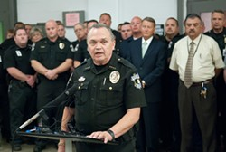 Sheriff John Whetsel backed by employees and officials, announced that the County Jail is now Accredited, at a news conference, 9-11-12.  mh