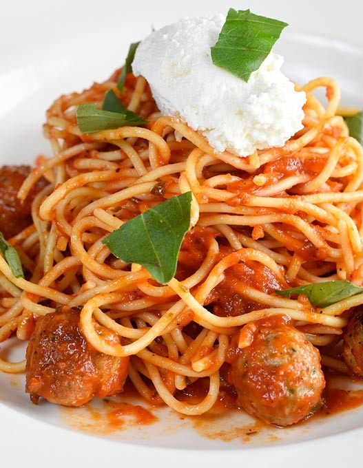 ?Spaghetti polpettine at Patrono, Tuesday, May 17, 2016. - GARETT FISBECK
