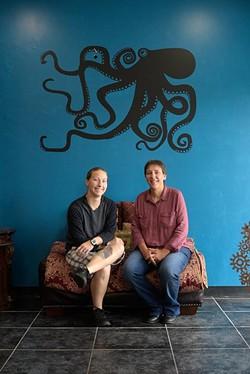 Bridgett and Mari Hefner pose for a photo at the Screen Door in Norman, Monday, Aug. 8, 2016. - GARETT FISBECK