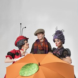 Jennifer Teel, from left to right, Hudson Ratcliff and Lexi Windsor star in Lyric Theatre's production of James and the Giant Peach.  Photo by KO Rinearson - KO RINEARSON